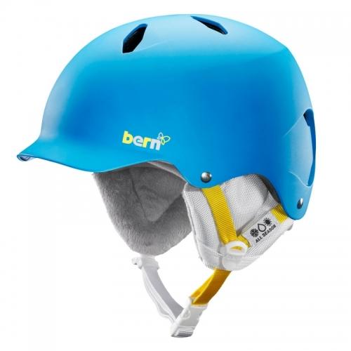 Dětská dívčí helma na snowboard Bern Bandita satin blue/modrá s kšiltem - AKCE
