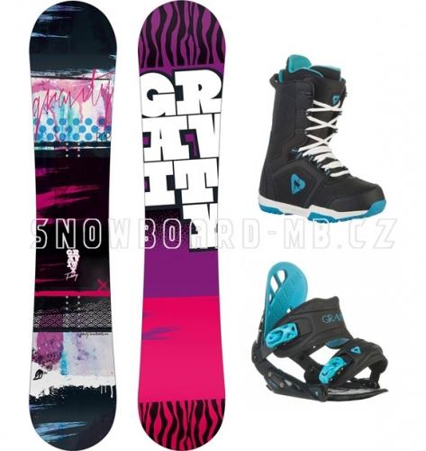 Dívčí dětský snowboard komplet Gravity Fairy black (větší boty) - VÝPRODEJ