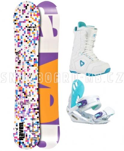 Snowboardový dámský komplet Raven Grid white, snowboard sety pro dívky a ženy - VÝPRODEJ