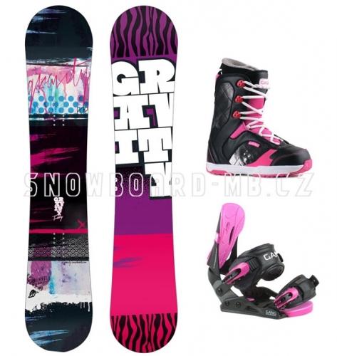 Dívčí černo-růžový snowboard komplet Gravity Fairy pro dívky - VÝPRODEJ