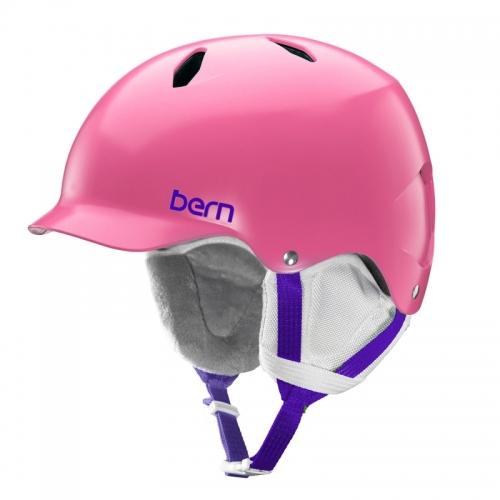 Snowboardová dívčí helma Bern Bandita Satin pink / růžová s kšiltem - AKCE