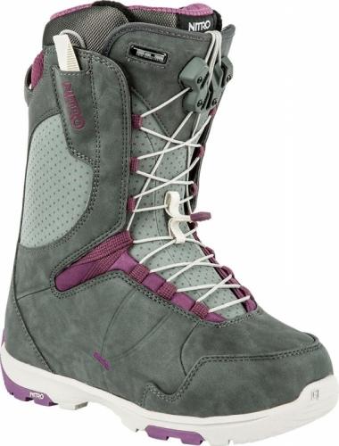 Kvalitní dámské snowboard boty Nitro Crown TLS slate grey-purple