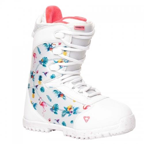 Dětské snowboardové boty Gravity Micra white, dívčí snb obuv bílá s obrázky - VÝPRODEJ