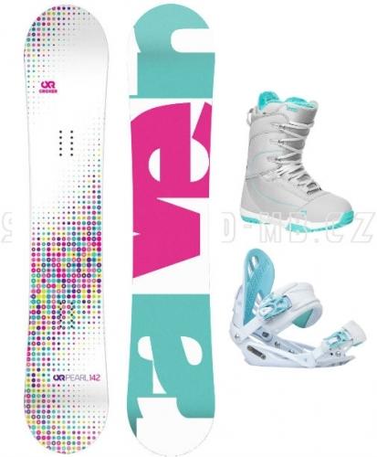 Dívčí snowboard komplet Raven Pearl white / blue, bílá / modrá - AKCE