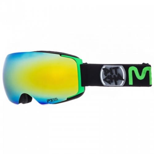 Snow brýle Pitcha Magno black/green/green mirrored, zeleno-modré zrcadlové měnitelné dvojité sklo
