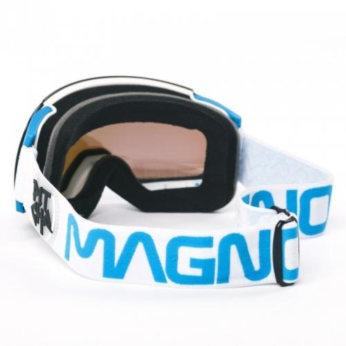 Snow brýle Pitcha Magno white/sky/blue mirrored, zeleno-modré sklo, bílý pásek