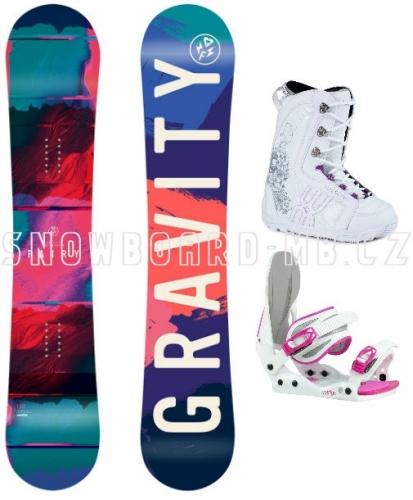 Dětské dívčí snowboard komplety Gravity Fairy white, boty Westige bílo-růžové - VÝPRODEJ