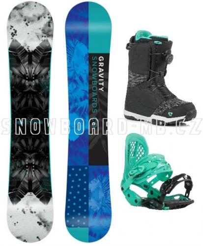 Dámský snowboard komplet Gravity Trinity a vázáním a rychloutahovacími botami