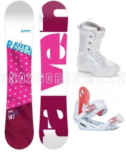 Dámský snowboardový komplet Raven Style růžový a boty bílé - VÝPRODEJ
