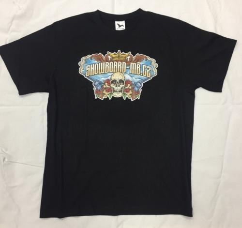 Bavlněné tričko s logem Snowboard-MB s lebkou a pistolema