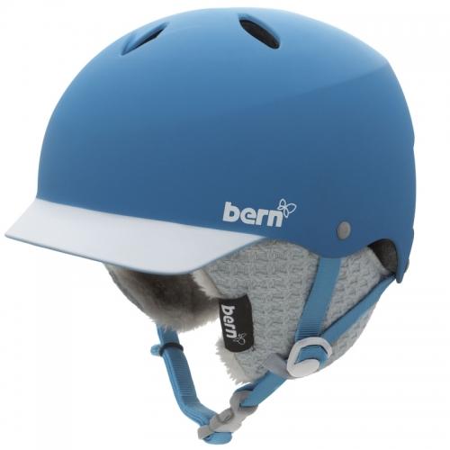 Dámská přilba BERN Lenox modrá, helma se zimním úpletem přes uši a kšiltem - VÝPRODEJ
