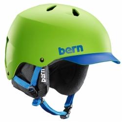 Snowboardová helma Bern Watts matte neon green/blue brim