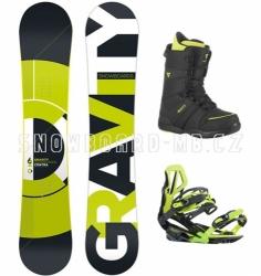 Snowboard komplet Gravity Contra lime, pánský snb set s botami