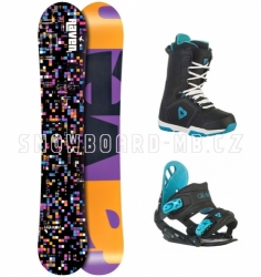 Dámský snowboard komplet Raven Grid black/černý kostkový