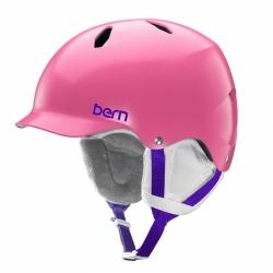 Snowboardová dívčí helma Bern Bandita Satin pink / růžová s kšiltem