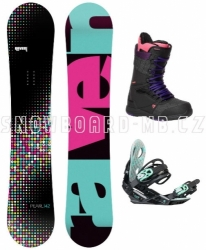 Dámský snowboard komplet Raven Pearl black s botami Gravity