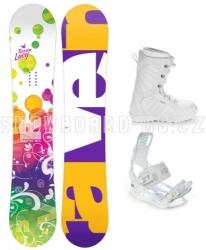 Dívčí snowboard komplet Raven Lucy s bílými botami a vázáním