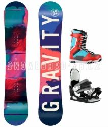Dívčí a dámský snowboard komplet Gravity Fairy, barevné boty Max blue/red