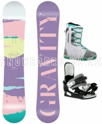 Pastelový dámský snowboardový komplet Gravity Sirene s botami Westige