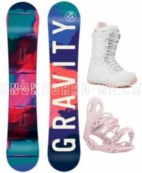 Dámský snowboardový komplet Gravity Thunder, barevný snowboard a bílo-růžové boty