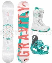 Dámský snowboard komplet Gravity Mist s bílými botami a tyrkysovým vázáním