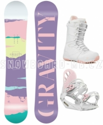 Dámský snowboardový komplet Gravity Sirene s bílo-růžovým vázáním a botami