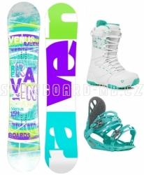 Snowboardový komplet dámský Raven Venus s vázáním a botami Gravity white/mint