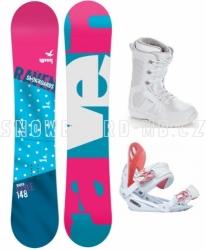 Dámský snowboardový set Raven Style white s vázáním Gravity