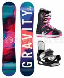 Dívčí dětský snowboardový komplet Gravity Fairy s botami Gang pink